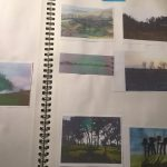 sketchbook with photographs and sketches of trees