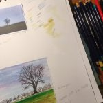 inspiration page with photograph sketch and colour notes for artwork
